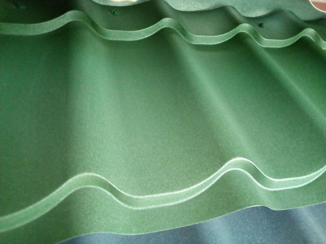 Металлочерепица МП Ламонтерра Х VikingMP полимерное покрытие, матовый 0,45 Зеленый мох 6007