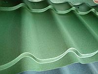 Металлочерепица МП Ламонтерра Х VikingMP полимерное покрытие, матовый 0,45 Зеленый мох 6007, фото 1
