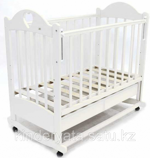 Ведрус Кровать детская Иришка 2 (ящик, колесо/качалка, накладка сердечко) белая/слон.кость