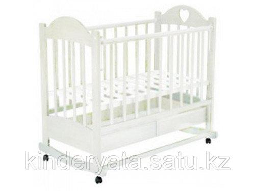 ВЕДРУС Кроватка детская Лана 2 (ящик, колесо/качалка, накладка сердечко)