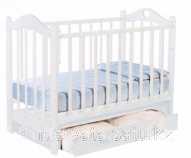 Ведрус Кроватка детская Лана 3 (ящик, маятник, накладка сердечко), белая/слон.кость