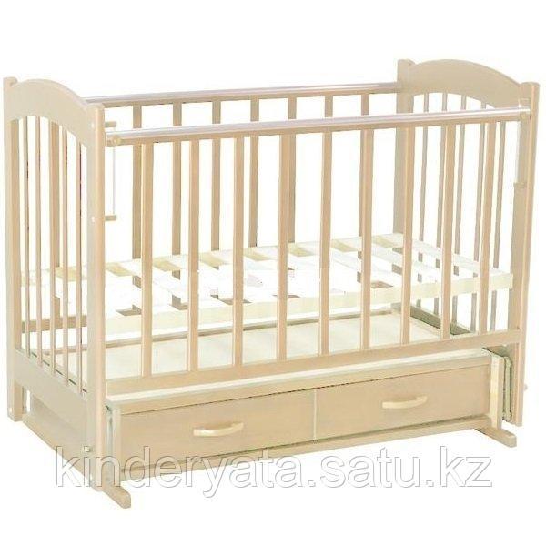 Ведрус Кроватка детская Радуга 4 (ящик, поперечный маятник, накладка) бел/сл.кость