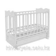 Ведрус Кроватка детская Чайка 4 (ящик, продольный маятник, накладка) бел/сл.кость