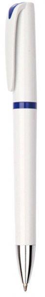 Ручка шариковая пластиковая, белая с синими вставками