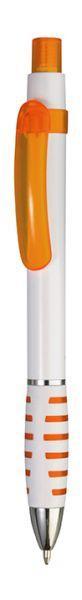 Ручка шариковая пластиковая белая с оранжевым