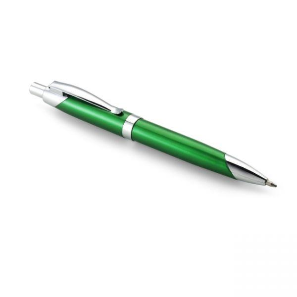 Ручка шариковая пластиковая, зеленая с металлическими вставками