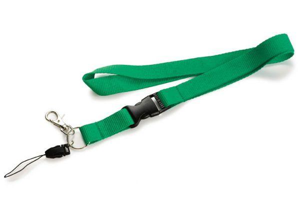 Шнур для бейджа (ланъярд) зеленый