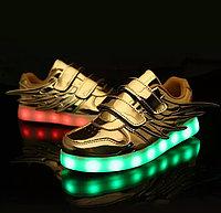 LED Кроссовки детские со светящейся подошвой, золотые крылья