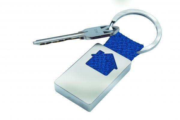 Брелок металлический, прямоугольный с домиком (синий)