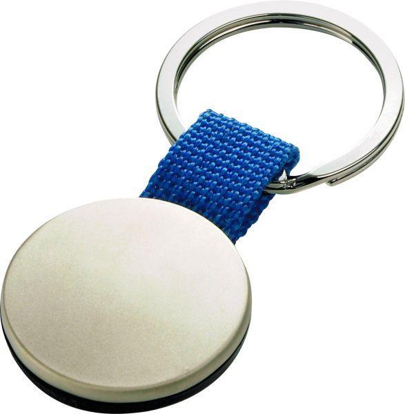 Брелок металлический, круглый (синий)