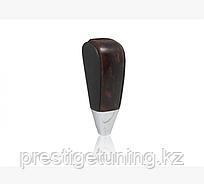 Ручка АКПП чёрная кожа + тёмное дерево для Land Cruiser Prado 150