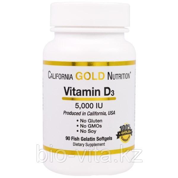 California Gold Nutrition, Витамин D3, Д3 5000 МЕ, 90 капсул.