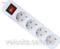 Удлинитель DEFENDER с заземлением и выключателем S450, 5.0 м, 4 розетки, фото 2