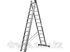 Лестница стремянка СИБИН, трехсекционная со стабилизатором