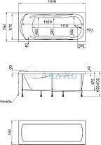Акриловая  прямоугольная ванна Клео 160х75 см. 1 Марка. Россия (Ванна + каркас +ножки), фото 2