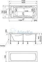 Акриловая прямоугольная  ванна Дипса 170х75 см. 1 Марка. Россия (Ванна + каркас +ножки), фото 3