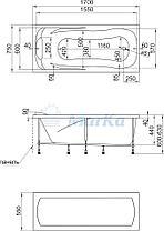 Акриловая  прямоугольная ванна Калипсо 170*75 см. 1 Марка. Россия (Ванна + каркас +ножки), фото 2