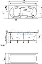 Акриловая  прямоугольная ванна Динамика 170x80 см. 1 Марка. Россия (Ванна + каркас +ножки), фото 2