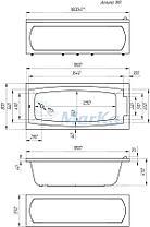 Акриловая прямоугольная  ванна Аелита 180*80 см. 1 Марка. Россия (Ванна + каркас +ножки), фото 2