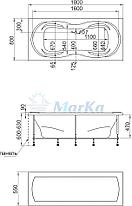 Акриловая  прямоугольная ванна Динамика 180x80 см. 1 Марка. Россия (Ванна + каркас +ножки), фото 2