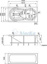 Акриловая  прямоугольная ванна Таормина 180*90 см. 1 Марка. Россия (Ванна + каркас +ножки), фото 3
