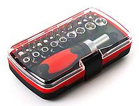 Набор отвёрток, CREST, C503, 38 ед., 45-50 HRC, 28 Бит, 9 Метрических головок, Чёрно-Красный, Цветная коробка, фото 1