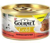 Gourmet Gold Нежные биточки с говядиной и томатом Влажный корм для кошек, 85г.