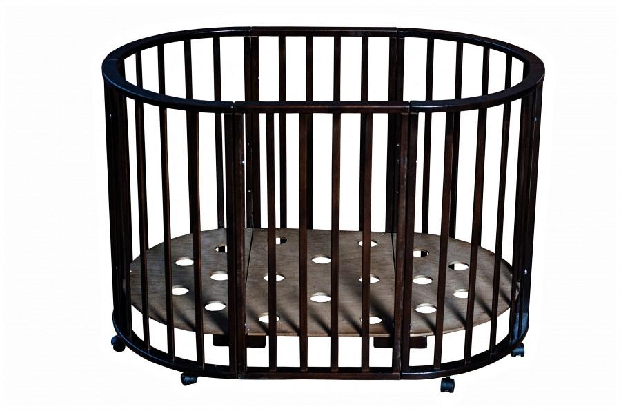Детская круглая кроватка Мой малыш Николь темный