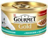 Gourmet Gold Кусочки в подливке с лососем и цыпленком Влажный корм для кошек, 85г., фото 1
