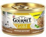 Gourmet Gold Нежные биточки с индейкой и шпинатом  Влажный корм для кошек, 85г.