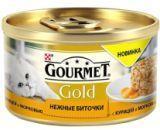 Gourmet Gold Нежные биточки с курицей и морковью Влажный корм для кошек, 85г.
