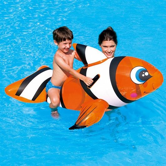 41088 BW Надувная игрушка для катания верхом Рыба-клоун 157х94 см, с ручками