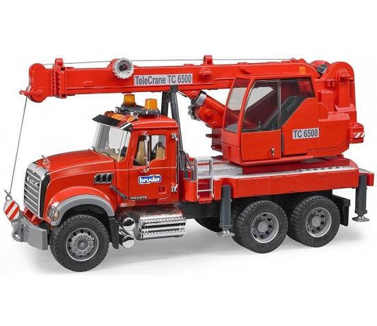 Брудер пожарный автокран Bruder Автокран MACK с модулем со световыми и звуковыми эффектами, красный
