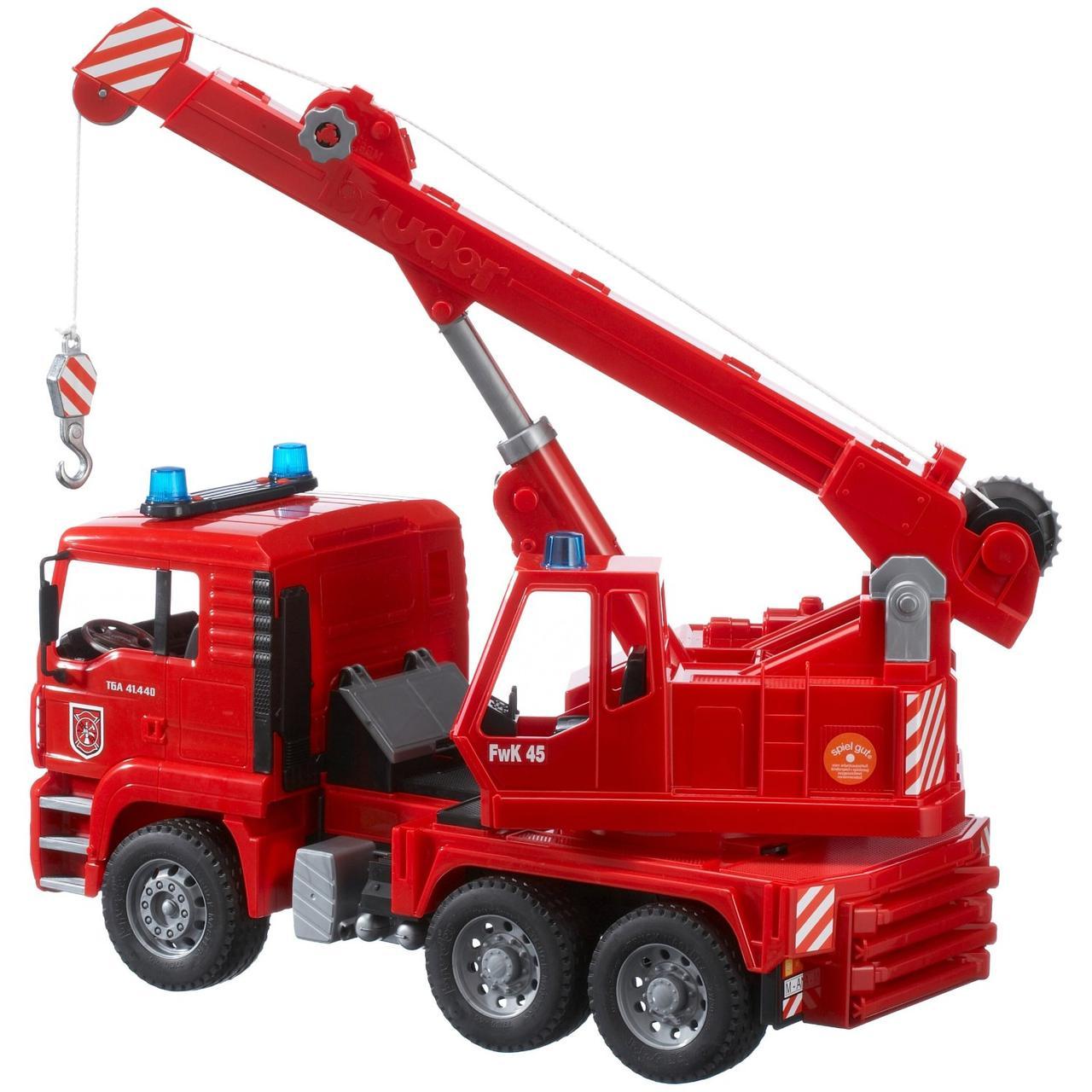 Брудер пожарный автокран Bruder Пожарная машина автокран MAN с модулем со световыми и звуковыми эффектами