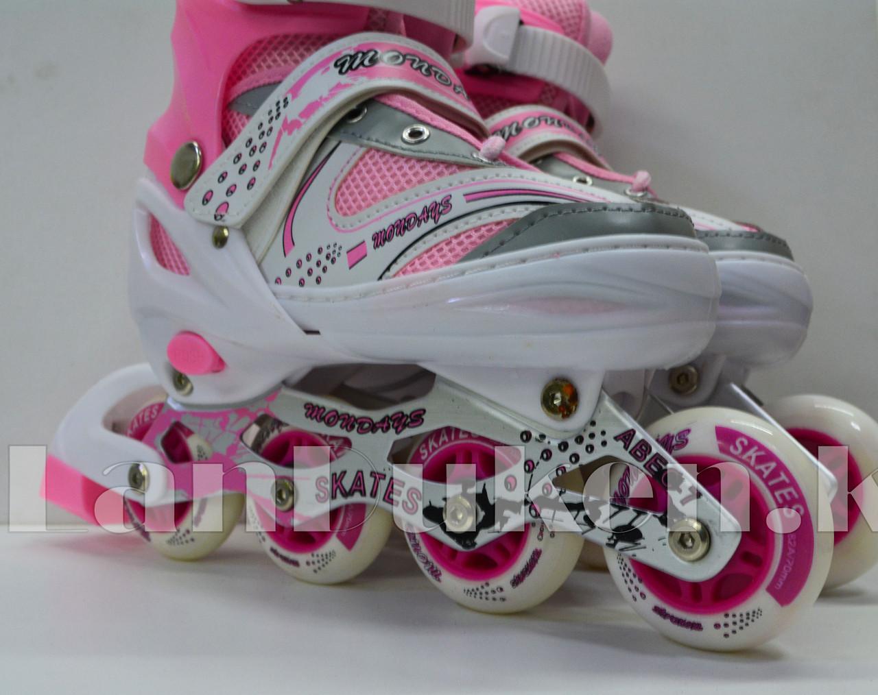 Ролики раздвижные с прошивкой (коньки роликовые) розовые - фото 3