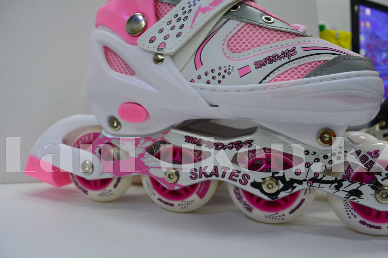 Ролики раздвижные с прошивкой (коньки роликовые) розовые - фото 4