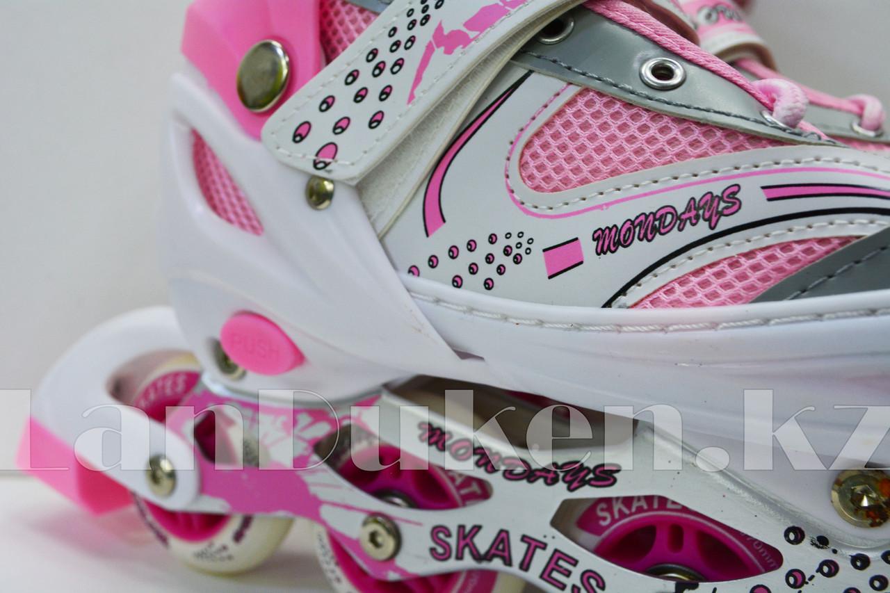 Ролики раздвижные с прошивкой (коньки роликовые) розовые - фото 6