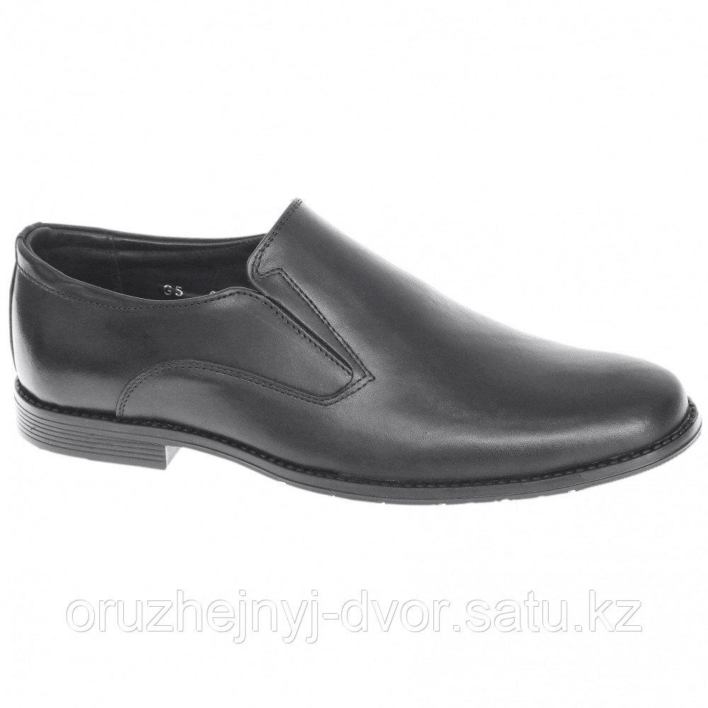 Туфли муж.кожа 8096/2WA на резинке (черный) 9,5см, р.44, 45