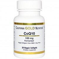 California Gold Nutrition, CoQ10, 100 мг, 30 капсул в растительной оболочке.