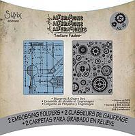 """Набор текстурированных папок для тиснения """"Blueprint & Gears"""""""