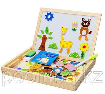 Деревянный детский набор 3 в 1. Магнитная доска