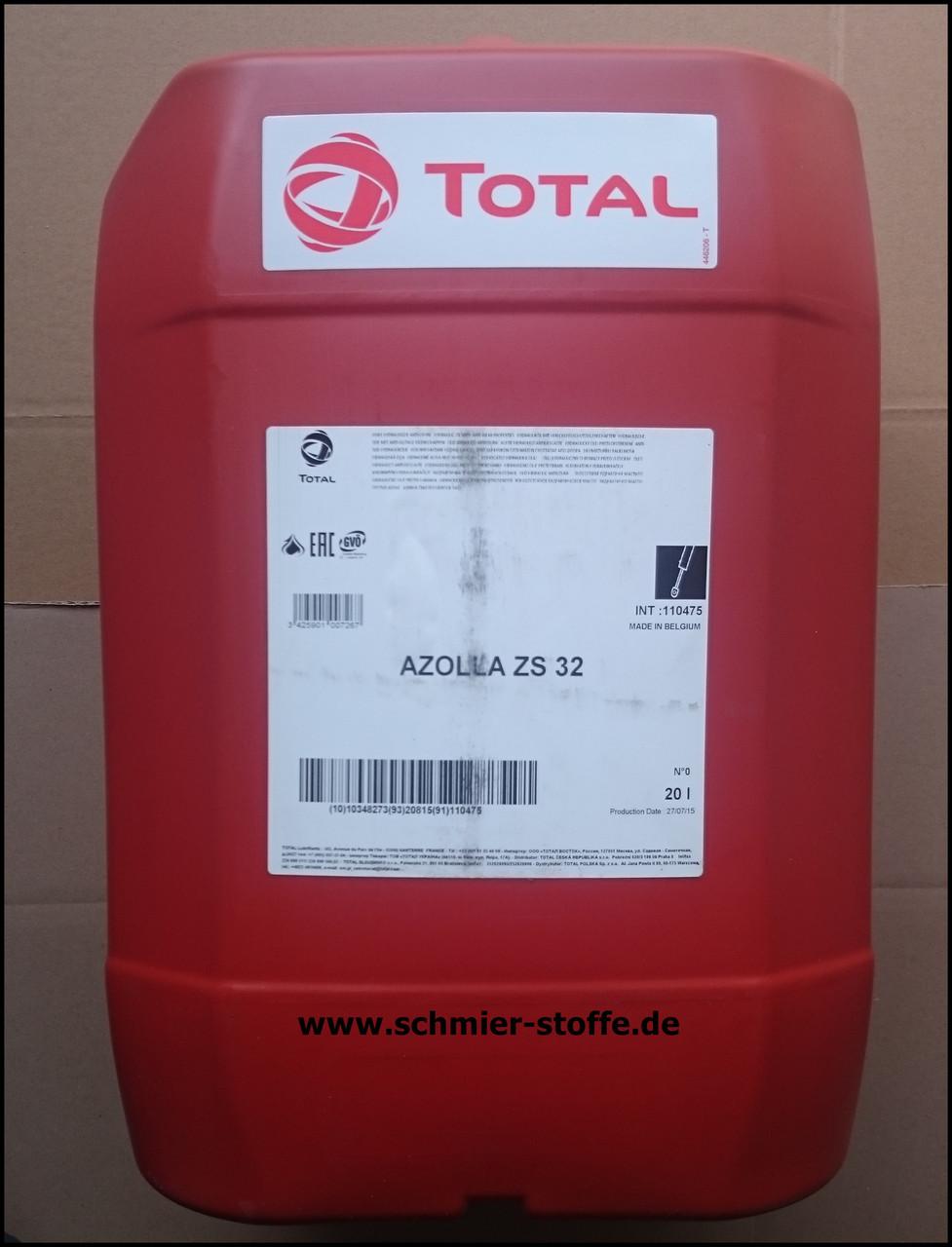 TOTAL AZOLLA ZS 32 гидравлическое масло с противоизносными свойствами 20л.