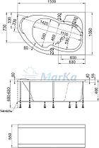Акриловая ванна Аура 150х105 (Правая) (Полный комплект) Ассиметричная. Угловая, фото 2