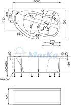 Акриловая ванна Аура 160х105 (Правая) (Полный комплект) Ассиметричная. Угловая, фото 2