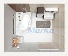 Акриловая ванна Аура 160х105 (Правая) (Полный комплект) Ассиметричная. Угловая, фото 3