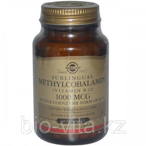 Solgar, Сублингвальный метилкобаламин (Витамин В12), 1000 мкг, 60 таблеток.