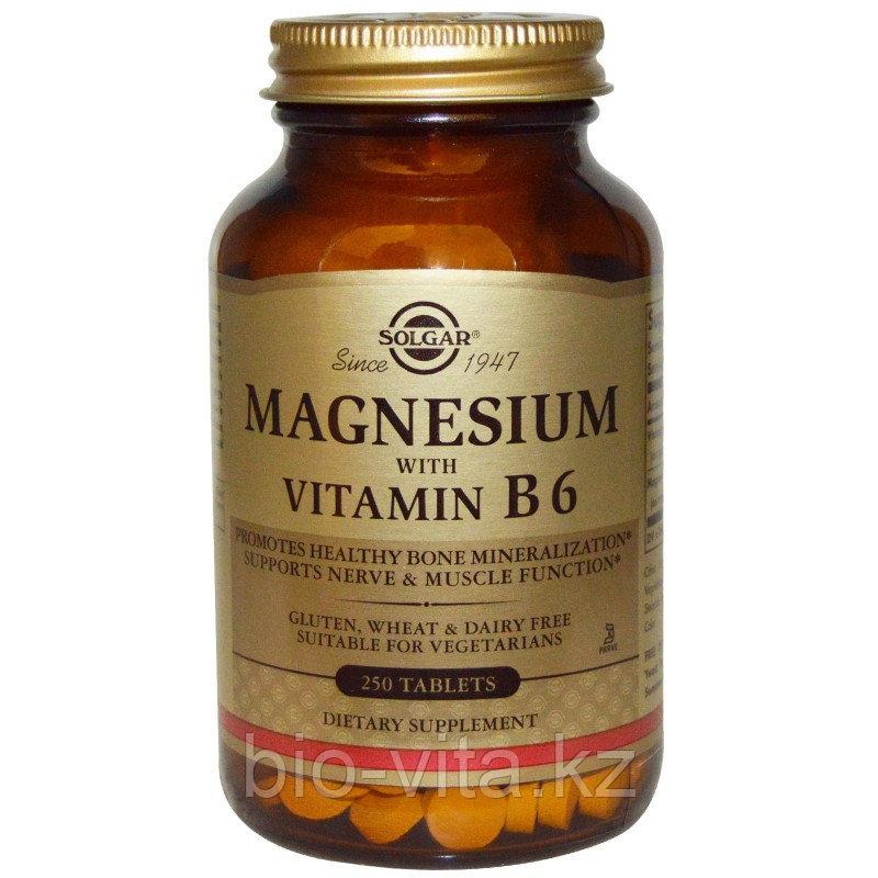 Solgar, Магний, с витамином В6, 250 таблеток