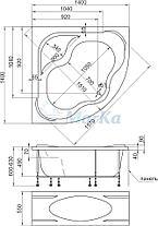 Акриловая угловая ванна Афродита 140х140 (Полный комплект), фото 3