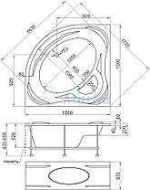 Акриловая угловая  ванна Палермо 150*150 (Полный комплект), фото 2