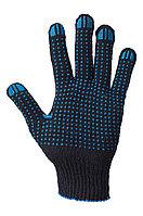 Перчатки рабочие х/б с ПВХ, черные